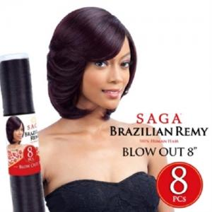 Saga Brazilian Remy Human Hair Weave BLOW OUT 8PCS 8""